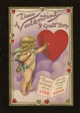 Greetings VALENTINE Cupid with bow and arrow Embossed PPC c1900/10s?