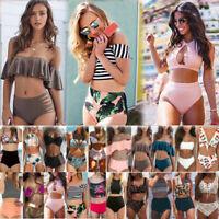 Womens High Waisted Bikini Set Swimsuit Padded Push-up Bra Bathing Suit Swimwear