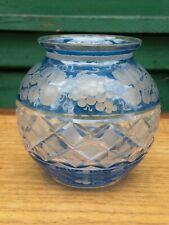 Vase boule en Cristal Taillé Bohème Ancien Décor de Vigne