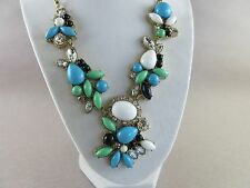 Necklace with Rhinestones and Blue and Green Plastic Beads (1295)