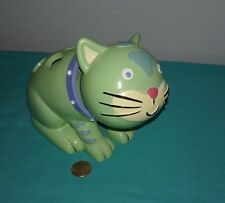 "Jenny & Jeff ""Best Friends"" Bobble Head Green Cat Resin Toothbrush Holder"