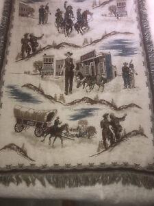 "Western Themed Cowboy/Indians, Marshall/Sheriff Fringed Throw Blanket 50"" X 96"""