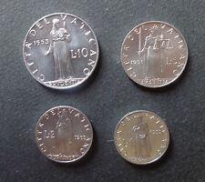 VATICANO STATO PONTIFICIO SERIE 4 MONETE ANNO 1953 LIRE 1 2 5 10 FDC PIO XII