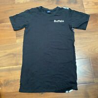 VINTAGE Buffalo Mens T Shirt Small Black Logo Spell Out Graphic Tee