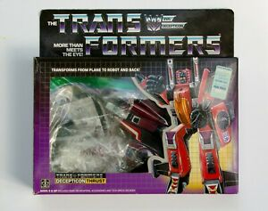 Vintage 1985 G1 Transformers Thrust Decepticon complete with Box and bubble