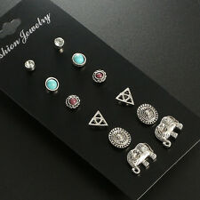 6 Pairs/Set Vintage Elephant Stud Earring Boho Antique Flower Crystal Earrings