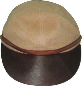 Hermes Pour Motsch Chapeaux Camel Wool Leather Baseball Vtg Hat