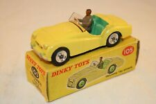 Dinky Toys 105 Triumph TR2 Sports yellow with spun hubs near mint in great box