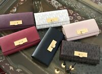 AUTHENTIC MICHAEL KORS CALLIE CARRYALL SAFFIANO LEATHER CLUTCH WALLET
