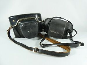 Vintage Pair of Pentacon Praktica Film Camera Cases Leather Hard Plastic Lot