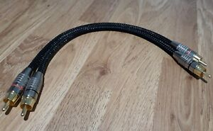 *NAD* Van Damme/Gold RCA Phono Cable Black braided jumper 20cm pair