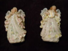 """~ Set of 2 Angelic Angels - 5 """" Tall ~ Playing Harp/Violin ~ Sparkle with Detail"""