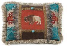 Feather Buffalo Pillow - Turquoise Stones - Appliqued Buffalo - Western / Cowboy