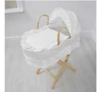 Girls Kids Broderie Anglaise Doll's Moses Basket Only White Pretend Play