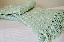 Throw Teal Mint Green Cyan Blanket 160cm x 130cm Indian Cotton Soft