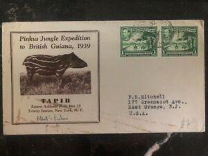 1939 British Guiana Pinkus Jungle Exhibition Tapir Cover To East Orange NJ USA