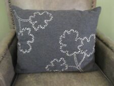 DKNY City Pulse City Stitch Decorative Pillow Gray Silver Floral Embroidered