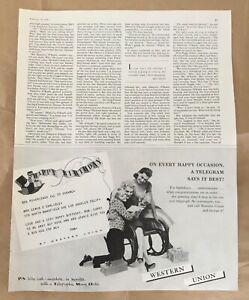 Western union ad 1959 original vintage print 1950s illus art telegram birthday