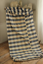 1700's Primitive Fabric Blue check linen cotton blue French old mattress cover