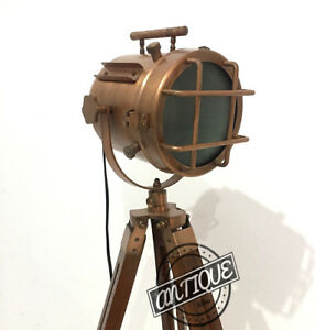 Vintage Nautical Searchlight Floor Lamp Stand with Tripod LED Electric Copp