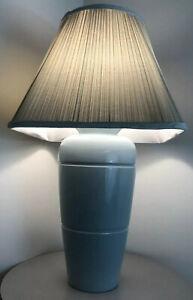 Large Vintage Mid Century Modern Sky Blue Glazed 1980s Memphis Era Lamp