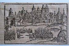 44-53-2 Gravure carte Sébastien Munster vue de la ville de Thiers époque fin 16e