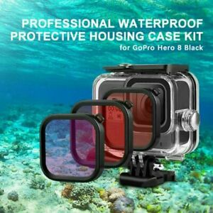For Gopro Hero 8 Black Waterproof Housing Case 3 Filter Kit Diving Protect Cover