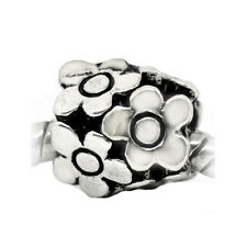 Flowers Daisy Garden Bouquet Spacer Bead for Silver European Charm Bracelets