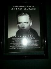 Bryan Adams Rare 30th Anniversary Reckless Tour Promo Ad Framed!