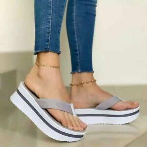 Women Platform Slipper Slip On Mules Summer Sandals Wedge Beach Shoes Flip Flops