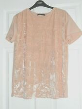 M&S Collection Blush/Peach Crushed Velvet Top - Size 12
