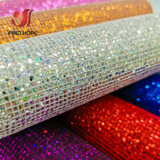 Plaid Glitter PU Leather Fabric Faux Starry Sky Clothing Bag DIY Sewing Decor