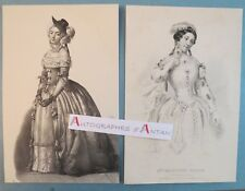 2 gravures Madeleine BROHAN Actrice - Contes de la Reine de Navarre
