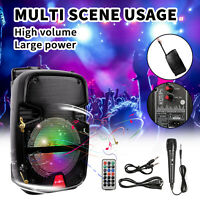 "8"" Portable Bluetooth PA Speaker Bass Sound System Party Tailgate Mic Remote USB"