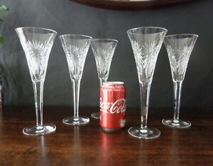 """Waterford Crystal  Millennium """"Happy"""" Cut Champagne Glasses x5, Signed h23,5cm"""