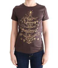 NEW DOLCE & GABBANA T-shirt Crewneck 2017 Motive Print Brown Cotton s. IT42 / M