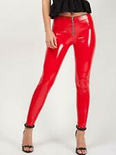 Ladies Zip Front Vinyl PU Leggings  Pants Gloss UK Size 6-14