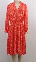 Red Floral Women's Vintage Midi Dress Long Sleeve V-Neck Size Small / Medium