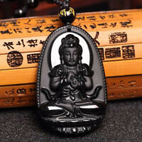 Natural Unisex Black Obsidian Necklace Jewelry Gifts Buddha Amulet Carve Pendant