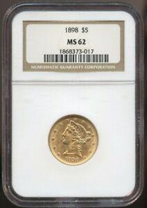 1898 $5 Gold Liberty MS 62 NGC, Nice Luster!