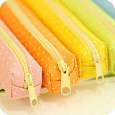 Candy Color Pencil Case Dot  Pen Bag Stationery Pouch Office School Supplies HF2