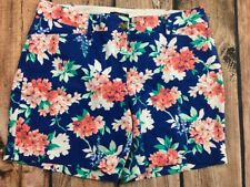 Lands End Womens Chino Mid Rise Flat Front Blue Floral Shorts Size 14p