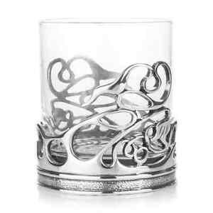 Pewter Swirl Glass Whisky Glass - AE Williams, UK - Handmade, Brand New