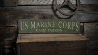 Custom Marine Corps Camp Sign - Rustic Hand Made Vintage Wooden ENS1000466