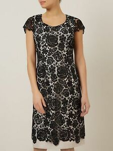 Jacques Vert Dress Black Champagne Beige Lace Party Wedding Mother Bride BNWT 12