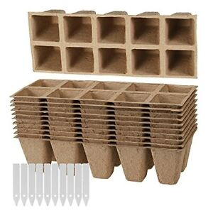 10 Pack Seed Starter Trays 100 Cells Peat Pots Seedling Plant Grow Tray Biode...