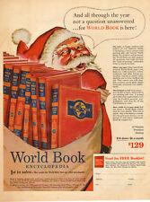 1953 vintage Christmas AD  WORLD BOOK ENCYCLOPEDIA  Art Santa Claus  082215