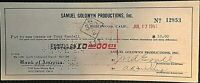 TONY RANDALL SIGNED INSANELY EARLY 1951 PAYCHECK FROM SAMUEL GOLDWYN PRODUCTIONS