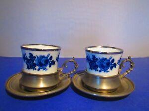 Bayreuther 2 Tassen mit Zinnhalterung Und Tellern / Espresso / Tee / Mocca  TOP