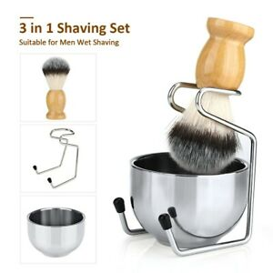 Men Shaving Set 3 in 1 Badger Synthetic Shaving Brush Stand Holder Mug Bowl Set